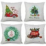 Ewolee クリスマス クッションカバー 4枚セット 北欧柄 メリークリスマス ソファー 背当てクッションカバー