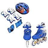 PEATAO Kids Adjustable Inline Skates,Children Happy Inline Skates with Illuminating Wheels Durable Comfortable Rollerblades Outdoors (Blue 1, US 2-4)