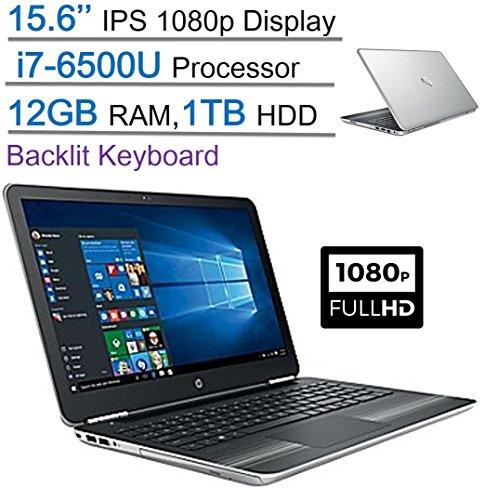 2017 New Edition HP Pavilion 15.6'' IPS FHD (1920 x 1080) UWVA BrightView Display Laptop PC, Intel Core i7-6500U 2.5GHz, 12GB DDR4 SDRAM, 1TB HDD, Backlit Keyboard, DVD +/- RW, Windows 10-Silver