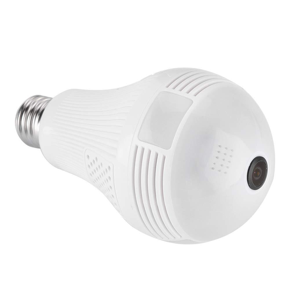 Cámara de la Bombilla de 1080P WiFi, 360 ° Fisheye HD Cámara de Seguridad Interior para Sistema de Seguridad Remoto hogar, detección de Movimiento(960P ...