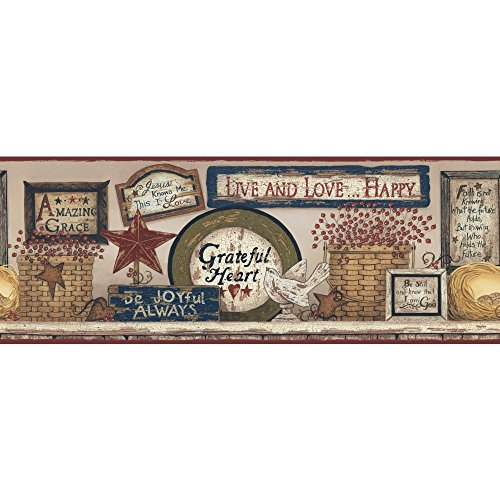 Little Star Wall Border - York Wallcoverings CB5532BD Hearts and Crafts-3 Inspirational Signs Border, Beige/Red Burgundy/Green/Blue/Off White