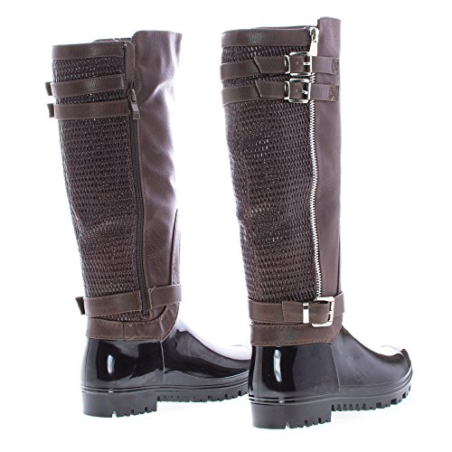 Rain brown Toe pu Round Boots Textured Strappy High Knee Xaq0z