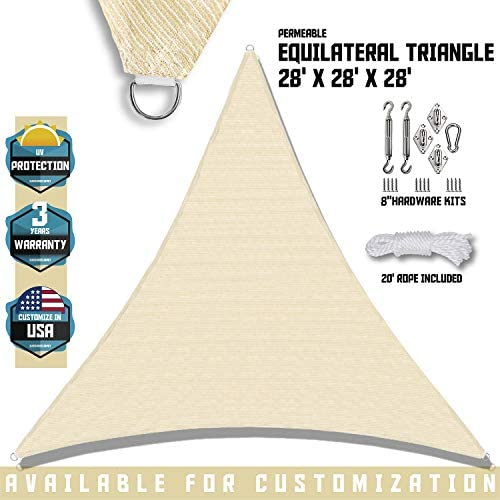 TANG Sunshades Depot 240 GSM 28 x28 x28 Tan Beige Sun Shade Sail with 8 Inch Hardware Kit Equilateral Triangle UV Block Durable Fabric Outdoor Canopy – Custom