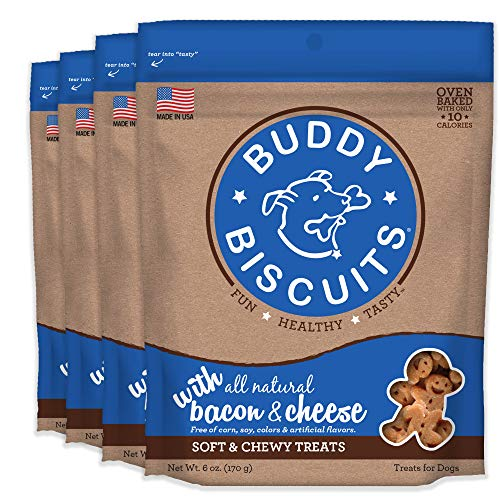 Buddy Biscuits Soft & Chewy Dog Treats with Bacon & Cheese - 6 oz. (4 Pack)
