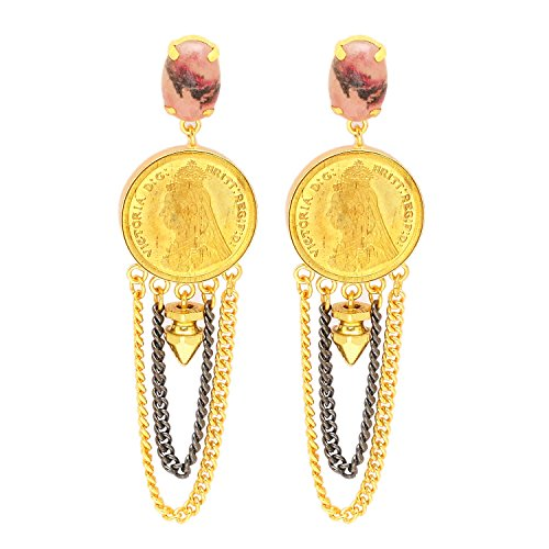 one Vintage Victorian Coin Two-Tone Tassel Handmade Dangle Earrings Fashion Jewelry, (3.3
