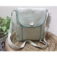 Panigha India Handmade Teal n Ivory Pin Stripe Cross body/Sling Bag with flap and zipper closure on top and long adjustable belts
