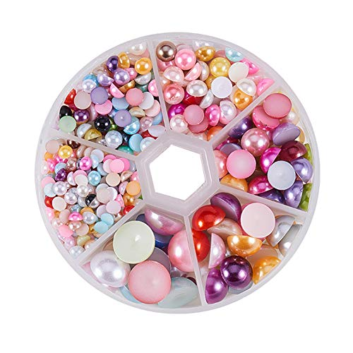 PH PandaHall 1 Box (About 690pcs) 6 Sizes Mixed Color Flat Back Pearl Cabochon (4mm, 5mm,6mm, 8mm, 10mm, 12mm)