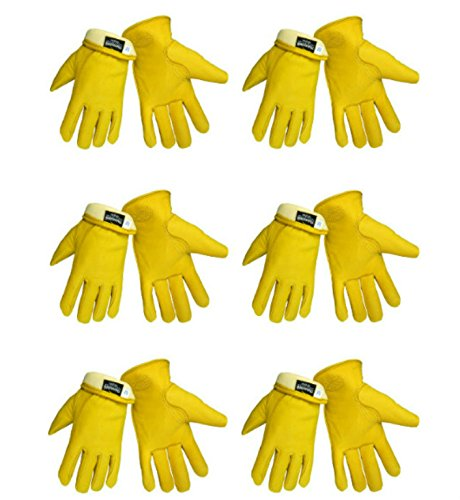 Global Glove 3200DTH Thinsulate Insulated Grain Deerskin Premium Grade Driver Gloves, Extra Large, 6 Pairs -