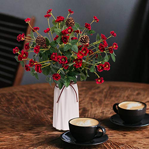 YILIYAJIA Rose with Vase Mini Artificial Rose Flowers with Ceramic Vase Cute Flowers Pinecone Centerpieces Decorations for Home Table (Red) (Flower Dining Centerpiece Table)