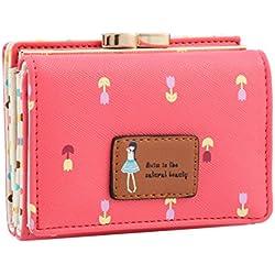 Damara Female Faux Leather Card Holder Mini Wallet Clutch,Watermelon