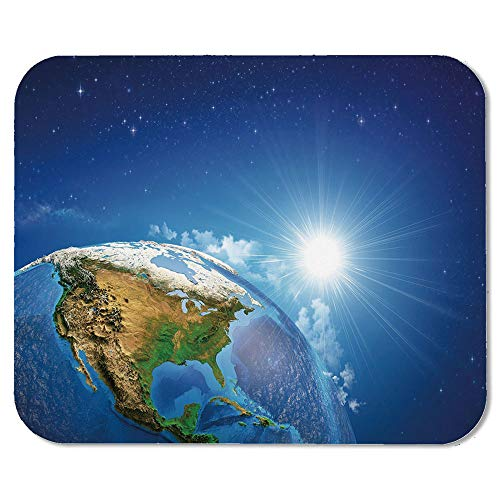 Earth Personalized Mouse Pad,United States View in Space Rising Sun Over The Earth and Its Landforms Decorative for Work Game,7.87''Wx9.45''Lx0.08''H]()