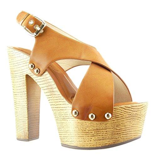 Angkorly Chaussure Mode Sabot Sandale Plateforme Femme Clouté Métallique Bois Talon Compensé Plateforme 14 CM - Camel