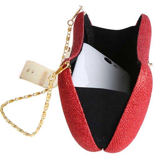 KAXIDY Bolso Diamante del Estuche Rígido del Diamante Bolso de Embrague Bolso Pequeño Partido (Dorado) Rojo