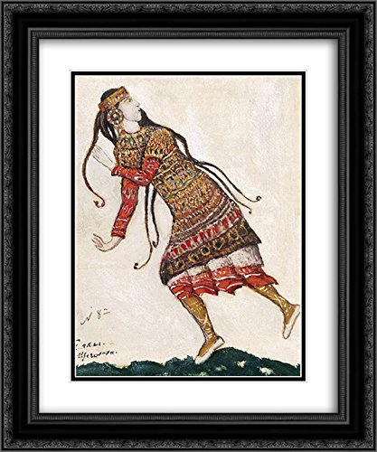 Nicholas Roerich 2x Matted 20x24 Black Ornate Framed Art Print 'Sketch of costumes for The Rite of (Nicholas Roerich Rite Of Spring Costumes)