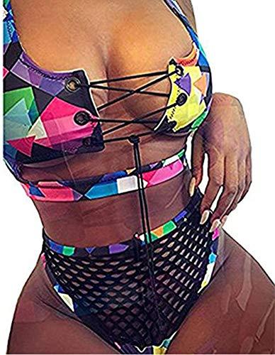 Bong Buy Women's 2 Pieces African Print Bikini Set Lace up Pdded Mesh High Cut Thong Swimsuit -