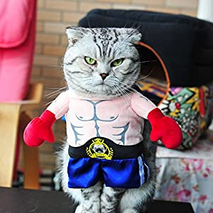 BlueSpace Pet Costume Boxer Clothes Dog Cat Pets Suit Halloween Costumes Pets Clothing for Small Dogs and Cats, Perfect for Halloween Christmas and Theme Party, XL