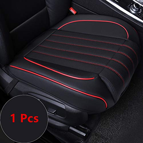 yberlin Car Seat Cushion Cover,Luxury PU Leather Auto Bottom Front Driver&Passenger Seat Protector Pad with Comfort Leg Support Pillow- Fit Most Midsize Vehicles, SUV, or Van