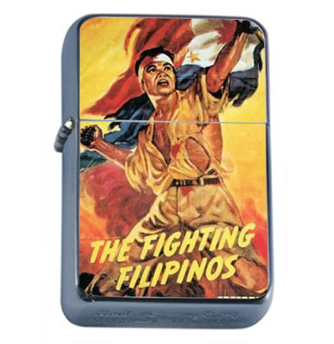 The Fighting Filipinos Freedom Windproof Refillable Flip Top Oil Lighter with Tin Gift Box D-403 by Perfection In Style