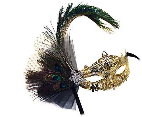 Success Creations Janelle Laser-Cut Metal Gold Venetian Peacock w/Rhinestones Masquerade ()