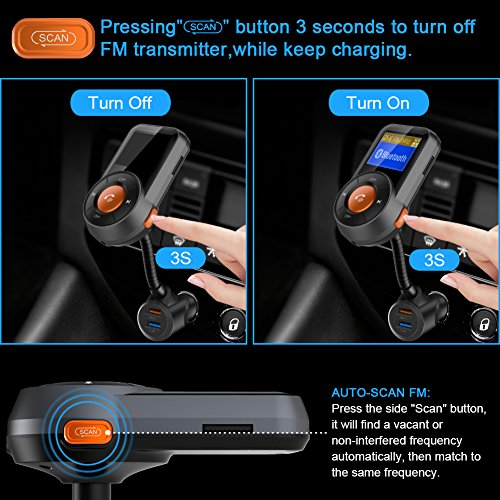 Upgraded Version) Bluetooth FM Transmitter, Auto-Scan FM