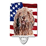 "Caroline's Treasures Otterhound with American Flag USA Night Light, 6"" x 4"", Multicolor"