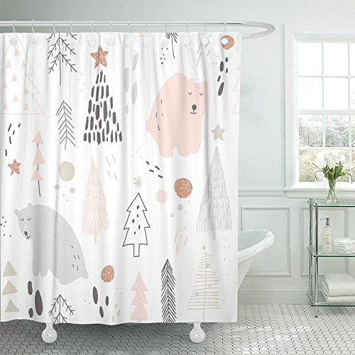 Emvency Shower Curtain 72x72 Inches Pink Animal with Bears and Christmas Trees White Woodland Whimsical Hand Polar Mildew Resistant Machine Washable