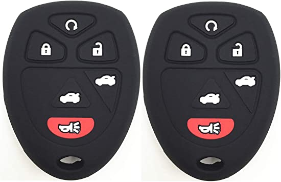 Ezzy Auto A Pair Black Silicone Rubber Key Fob Case Key Covers Key Jacket Skin Protector fit for GMC Chevrolet Cadillac