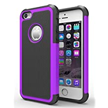 iPhone 5/5S Case, Hankuke Shock Absorption/High Impact Resistant Hybrid Dual Layer Armor Defender Full Body Protective Cover Case for iPhone 5/5S - black+purple