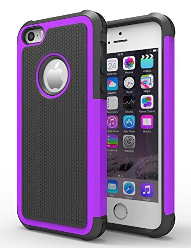 iPhone 5/5S Case, Hankuke Shock Absorption/High Impact protected Hybrid two Layer Armor Defender extensive Body Protective Cover situation for iPhone 5/5S - black+purple