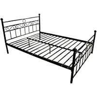 Sliverylake Premium Metal industrial bed frame Platform with Headboard and Footboard, Enhanced Sturdy Slats (Queen)