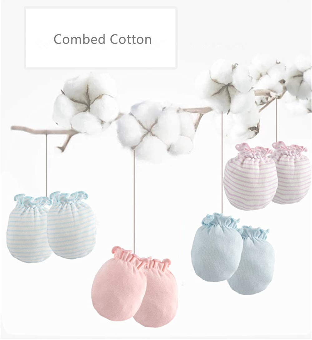 Breathable Soft LOVARTS BEAUTY 3 Pack Baby Girl Boy Combed Cotton Gloves Newborn Scratch Mittens
