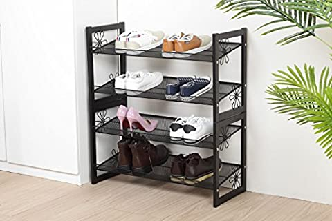Floral Design Stackable Metal Shoe Rack Mesh Utility Shoes Storage Organizer Shelf for Closet Bedroom and Entryway (4-Tier, - Design 4 Shelf