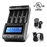 LCD Display Speedy Universal Battery Charger with Car Adapter, Zanflare C4 Smart Charger for Rechargeable Batteries Ni-MH Ni-Cd A AA AAA SC, Li-ion 18650 26650 26500 22650 18490 17670 17500 17355
