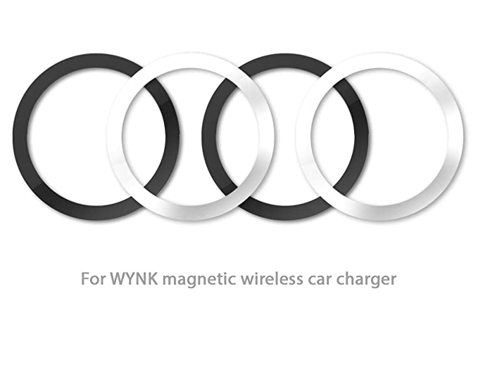 WYNK Metal Rings for Magnetic Wireless Charger Round Ring 59MM/2 32IN  Magnetic Wireless Car Charger Car Mount Phone Holder (2 Black + 2 Silver)