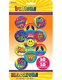Groovy 60's Party Hippie Button Pins (10 Piece), Multi Color, 10.6 x 5.8""