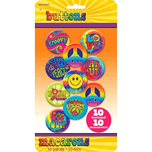 Amscan Groovy 60's Party Hippie Button Pins (10 Piece), Multi Color, 10.6 x 5.8""
