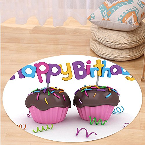 VROSELV Custom carpetBirthday Decorations 3D Illustration of Chocolate Covered Cupcakes with Greetings Attached for Bedroom Living Room Dorm Multicolor Round 24 inches