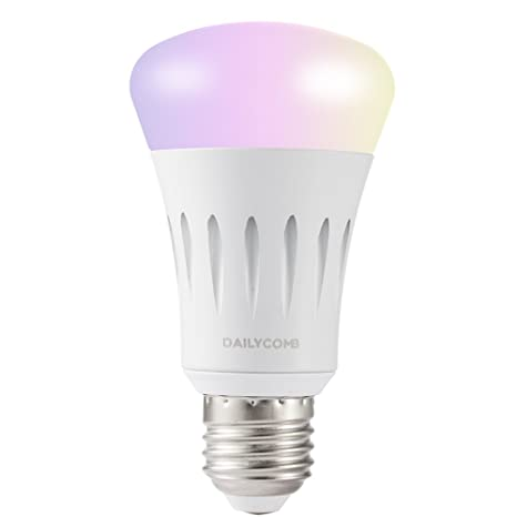 Smart LED bombilla luz, Wi-Fi, dailycomb RGB LED bombillas, LED A19