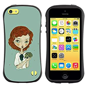 "Hypernova Slim Fit Dual Barniz Protector Caso Case Funda Para Apple iPhone 5C [Muchacha del jengibre verde erizo Arte""]"