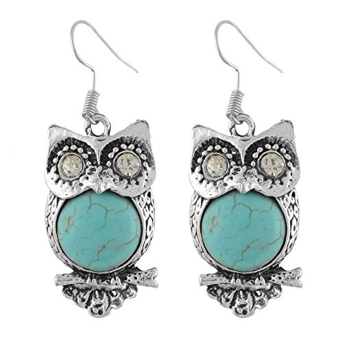 Phonphisai shop 1Pair Charming Crystal Turquoise Owl Drop Dangle Earrings Hook Retro Elegant