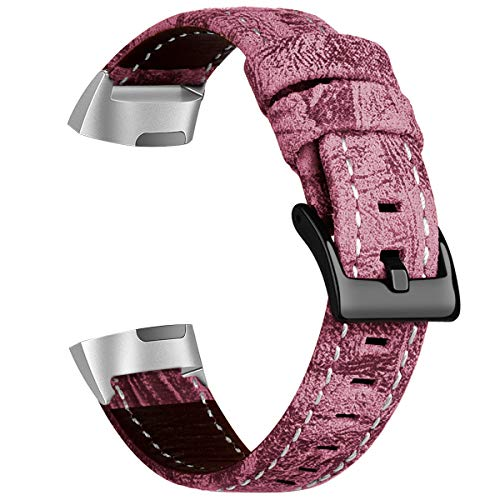 Compatible Fitbit Charge 3 Bands, Crazy Horse Lines Leather Strap Men Women Outdoors Sports Fitness Tracker Wristband Replacement with Stainless Steel Connectors (Pink) ()
