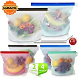 Reusable Silicone Food Storage Bags, MonoTurls Airtight Seal Food Bag Safe for Sandwich, Fruits, Liquid, Snack, Freezer, Microwave, Dishwasher - 6 Pack (include 2 Pack Stainless Steel Straws)
