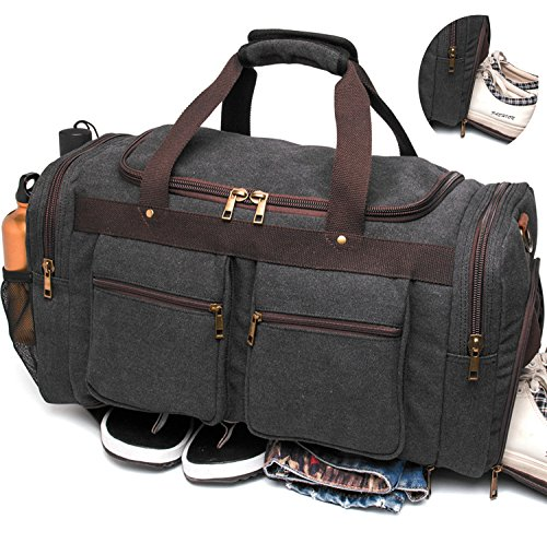 l Bag Vintage Weekender Overnight Bag Travel Tote Luggage Sports Duffle (Away Canvas)