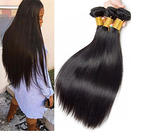 OOARGE Unprocessed Brazilian Virgin Human Hair Weft Extensions Straight Natural Black , 3pcs , 24inch