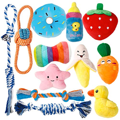 Dog Toys for Small Dogs, Toozey 12 Pack Cute Small Dog Toys, Stuffed Plush Puppy Toys Small Dogs, Ropes Puppy Chew Toys…