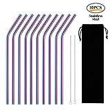 6mm Stainless Steel Straws,Foonee Gold Metal Straws Set of 13 Stainless Steel Drinking Straws 8.5 inch Reusable Drinking Straws Set(10 Bent Straws) 2 Cleaning Brushes