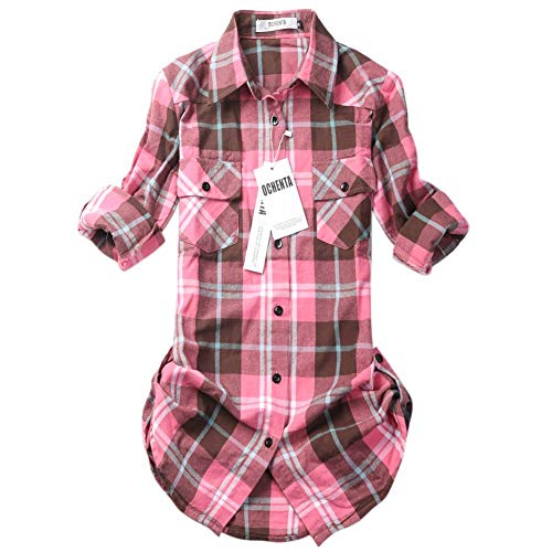 OCHENTA Womens Mid Long Style Roll Up Sleeve Plaid Flannel Shirt C138 Peach Pink Label L - US 2-4