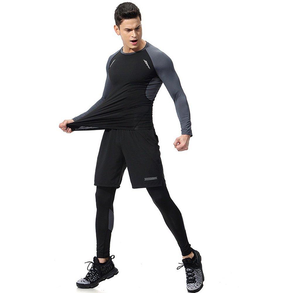 ANFitness Running Set Herren Gym Kleidung Elastische Kompressionsstrumpfhose Fitness Workout Sport Jogginganzüge Sportswear 3st