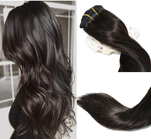 Clip In Hair Extensions Human Hair New Version Thickened Double Weft Brazilian Hair 120g 7pcs Per Set Remy Hair Natural Black Full Head Silky Straight 100% Human Hair Clip In Extensions(22 Inch #1B) ()
