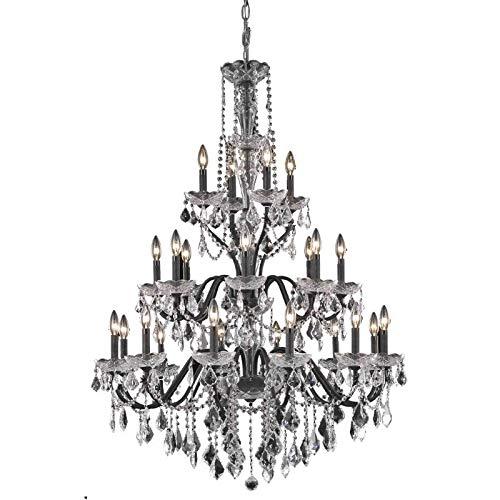 (Elegant Lighting Value St. Francis Collection Chandelier D:36in H:49in Lt:24 Dark Bronze Finish (Royal Cut Crystals) Dark Bronze)
